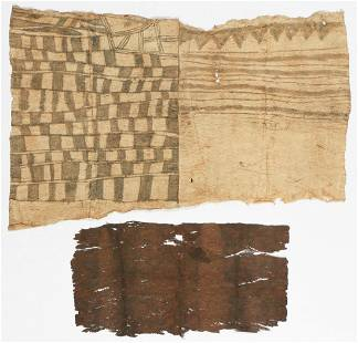 2 Antique African Mbuti/Pygmi Bark Cloth Paintings,