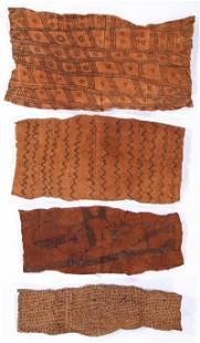 4 African Mbuti/Pygmi Bark Cloth Paintings, Ituri