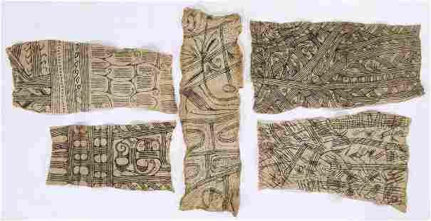 5 African Mbuti/Pygmi Bark Cloth Paintings, Ituri