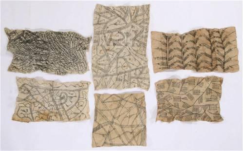 6 African Mbuti/Pygmi Bark Cloth Paintings, Ituri