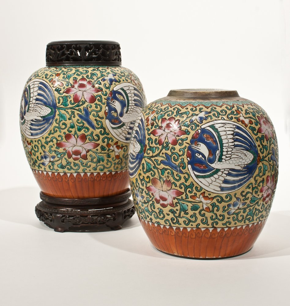 24: Pair of Antique Porcelain Decorated Jars