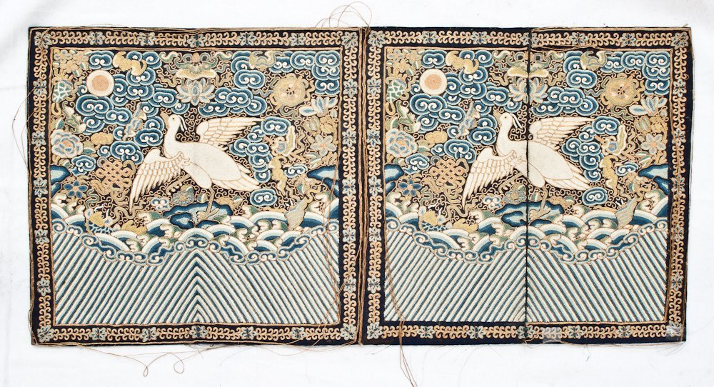 29: Pair of Antique Embroidered Rank Badges
