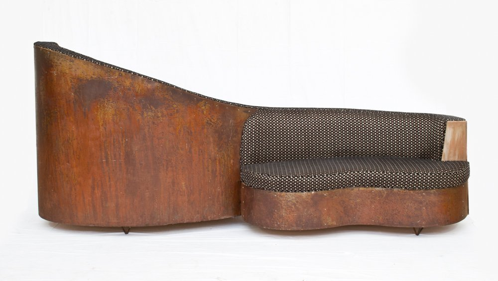 156: Double-Sided Copper and Wood Upholstered Sofa - 2