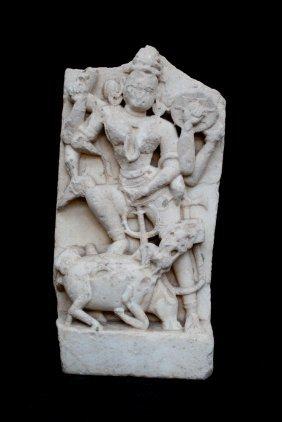 Carved Sandstone Figure Of Durga