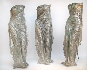 Three Life-Size Aluminum Female Figures On Stands