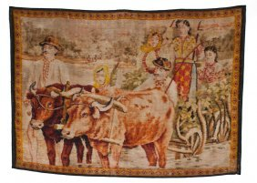 Machine-Loomed Pictorial Folk Tapestry