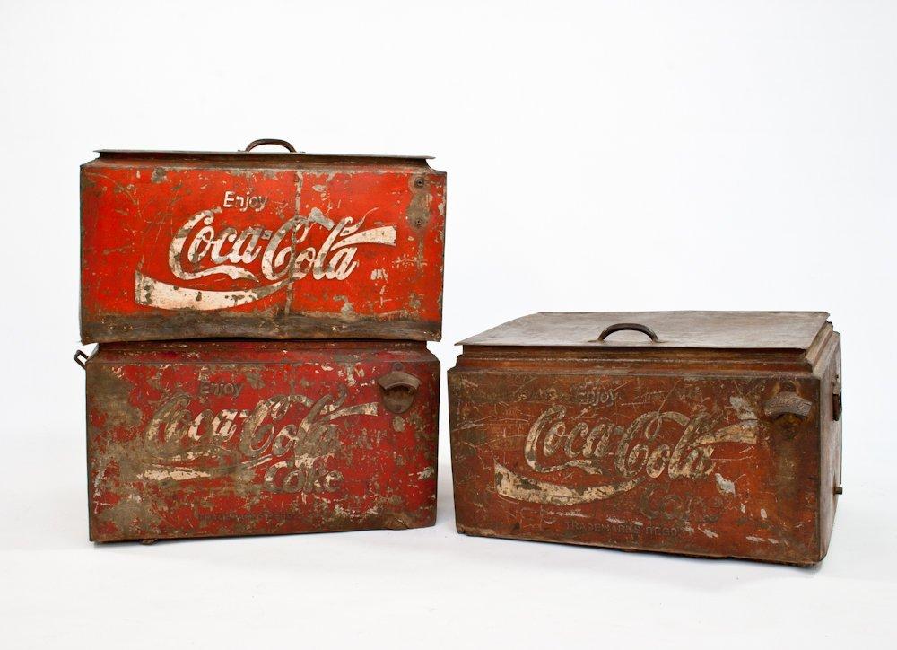 198: Three Vintage Metal Coca Cola Servers