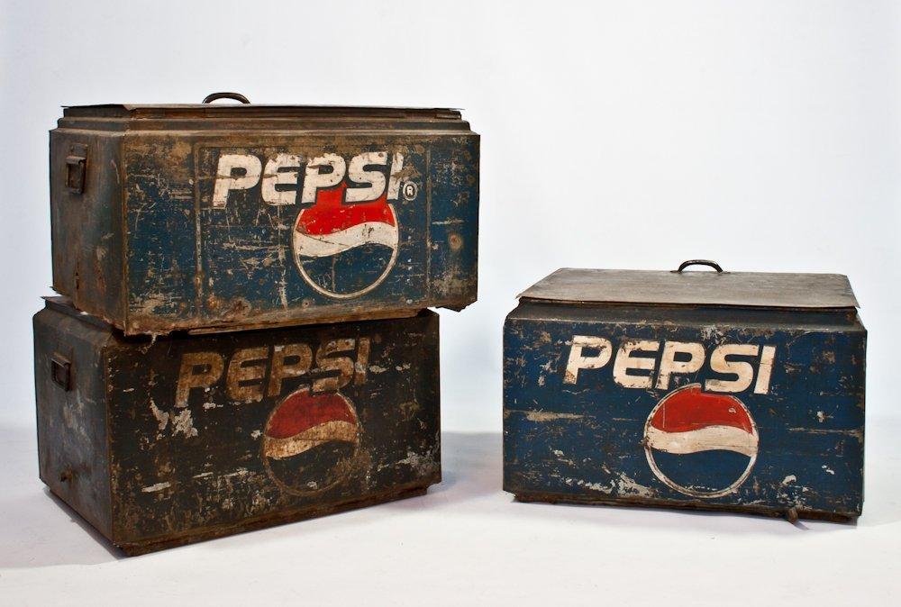 199: Three Vintage Metal Pepsi Cola Servers
