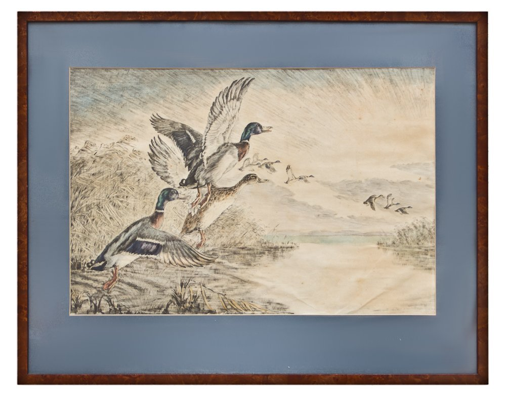 270: A Framed Color Etching of Ducks