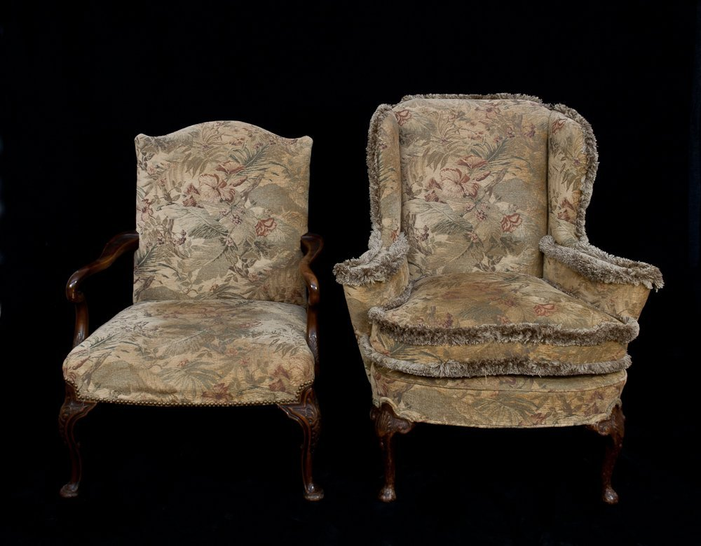 295: Queen Ann Style Wing Chair & Armchair