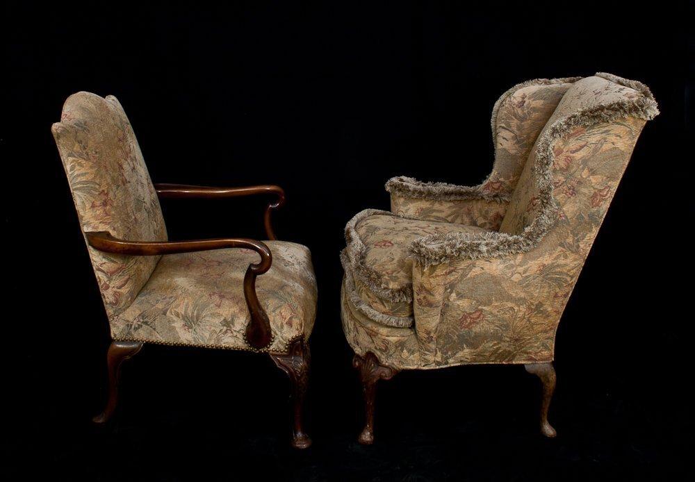 295: Queen Ann Style Wing Chair & Armchair - 2
