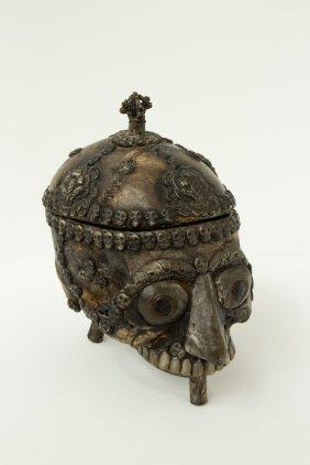 Shaman Skull With Silver Inlay