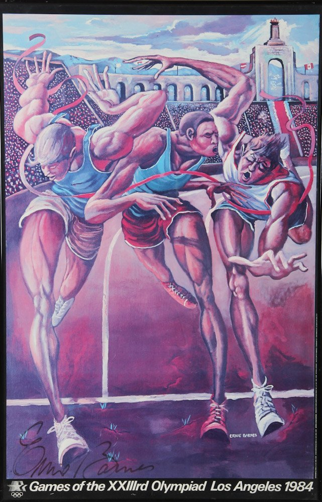 Ernie Barnes Signed Olympic Poster