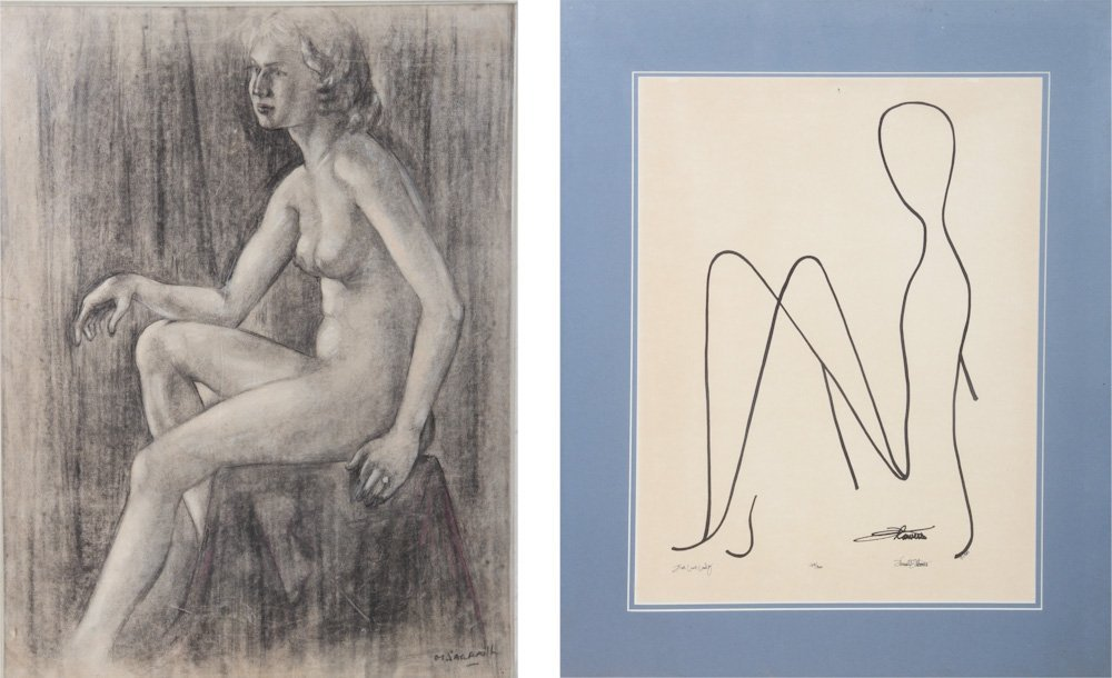 Two Drawings of Nudes