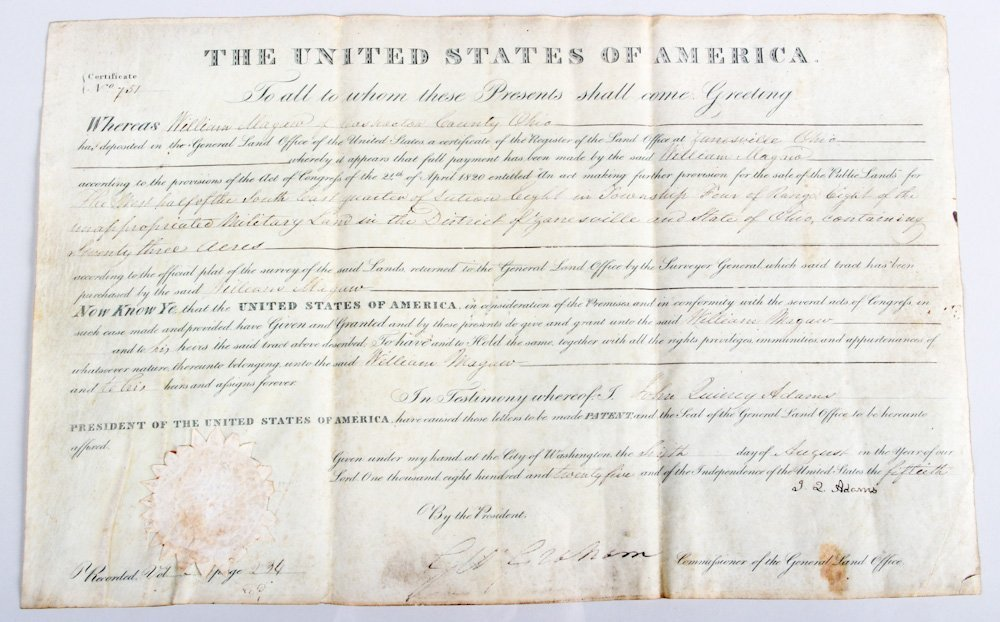 President John Quincy Adams Signed Land Grant