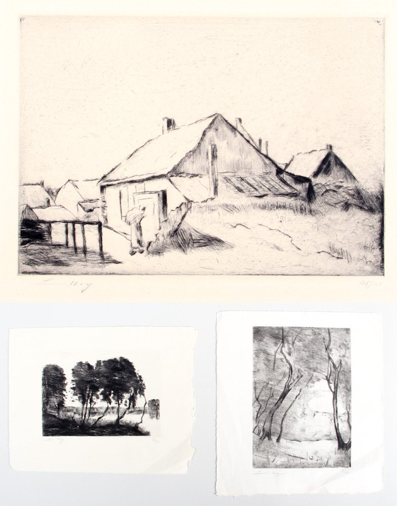 Three Etchings by Lesser Ury (German 1861-1931)