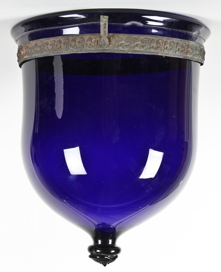 19th C Continental Hanging Glass Lamp (Lapis Blue)