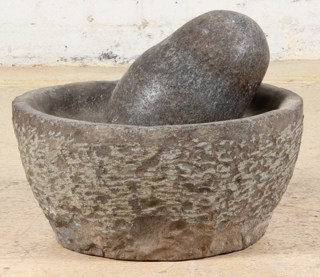 Large Antique Round Mortar and Pestle