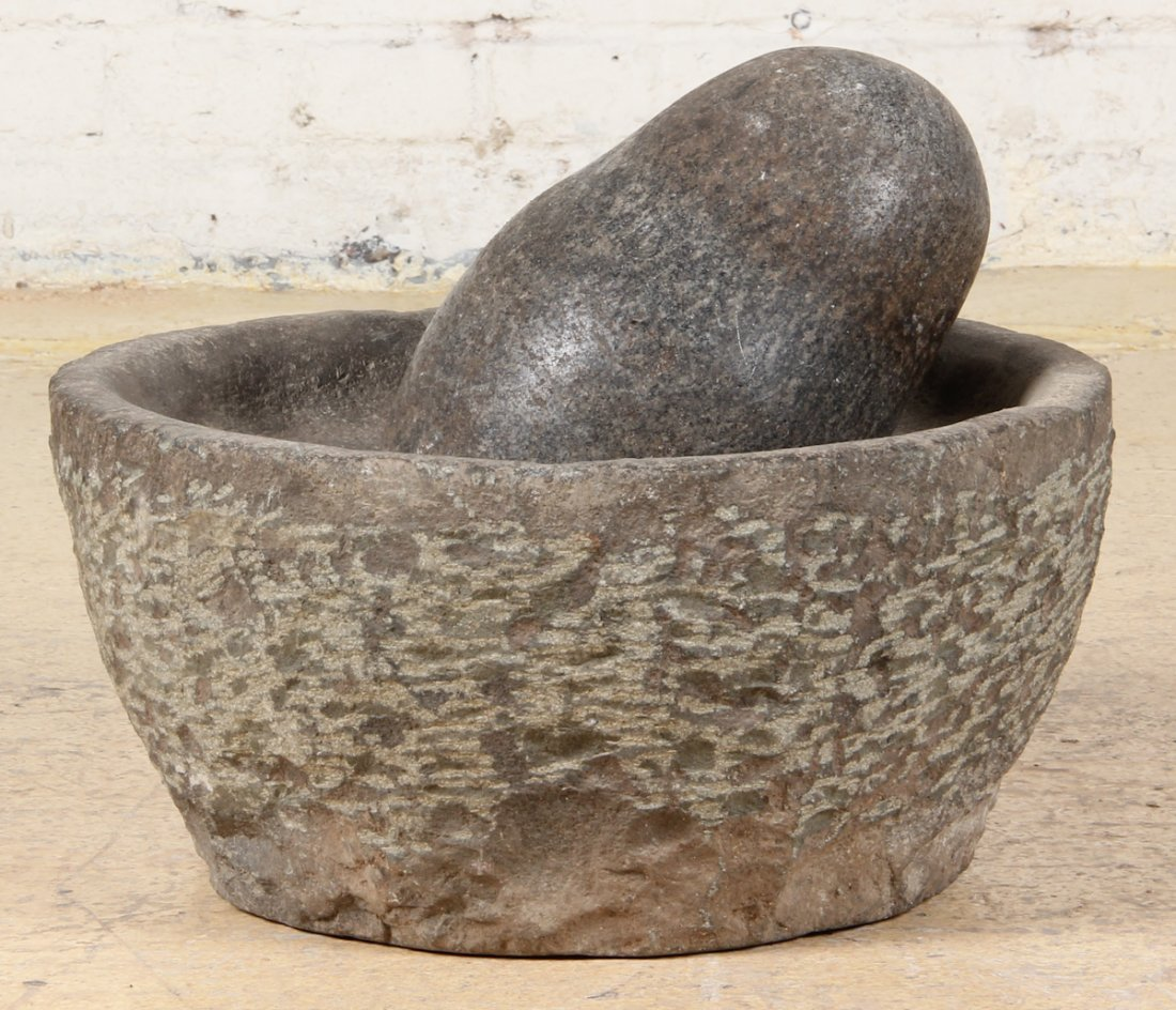 Large Antique Round Mortar and Pestle - 4