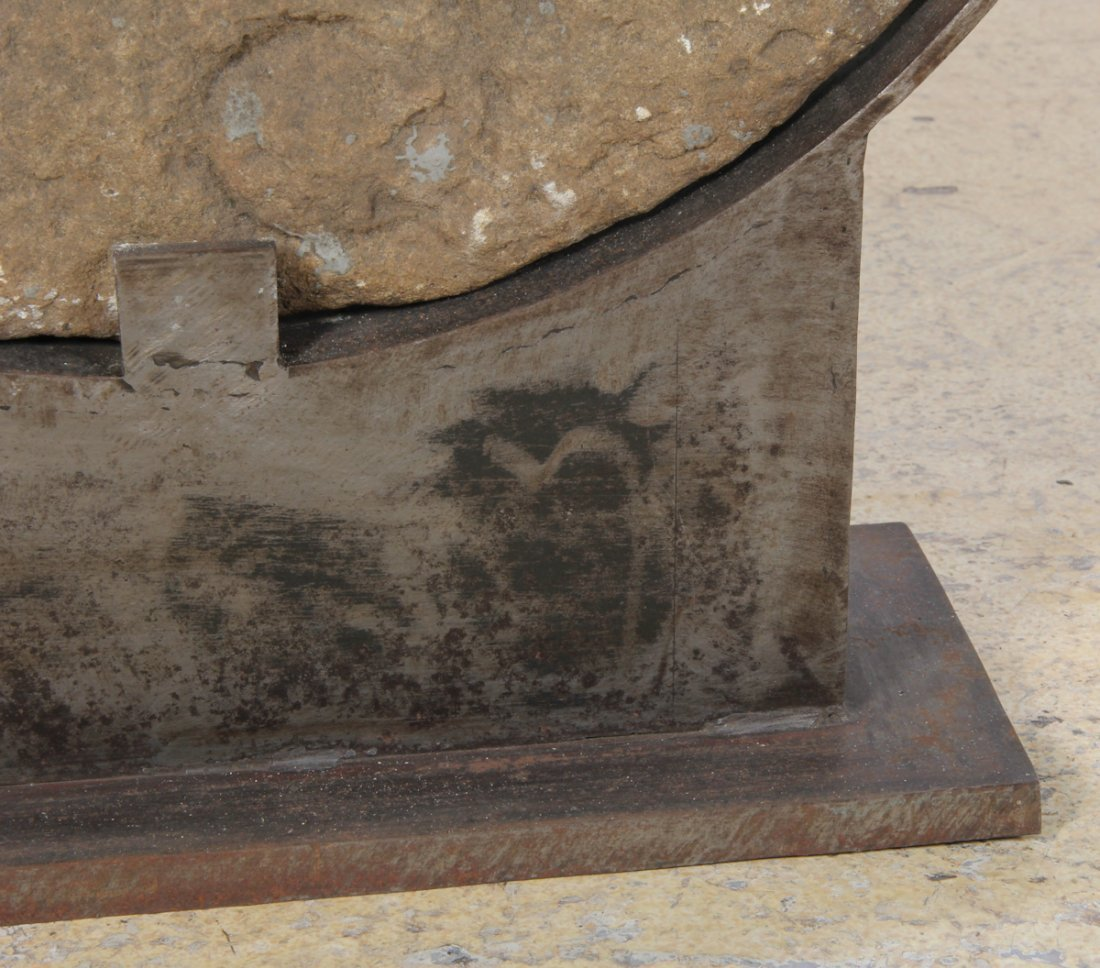 Antique Stone Grinding Wheel with Stand - 10