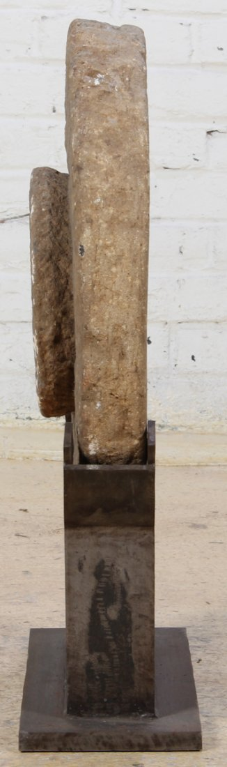 Antique Stone Grinding Wheel with Stand - 2