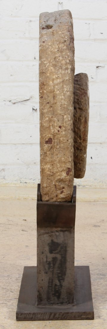 Antique Stone Grinding Wheel with Stand - 4