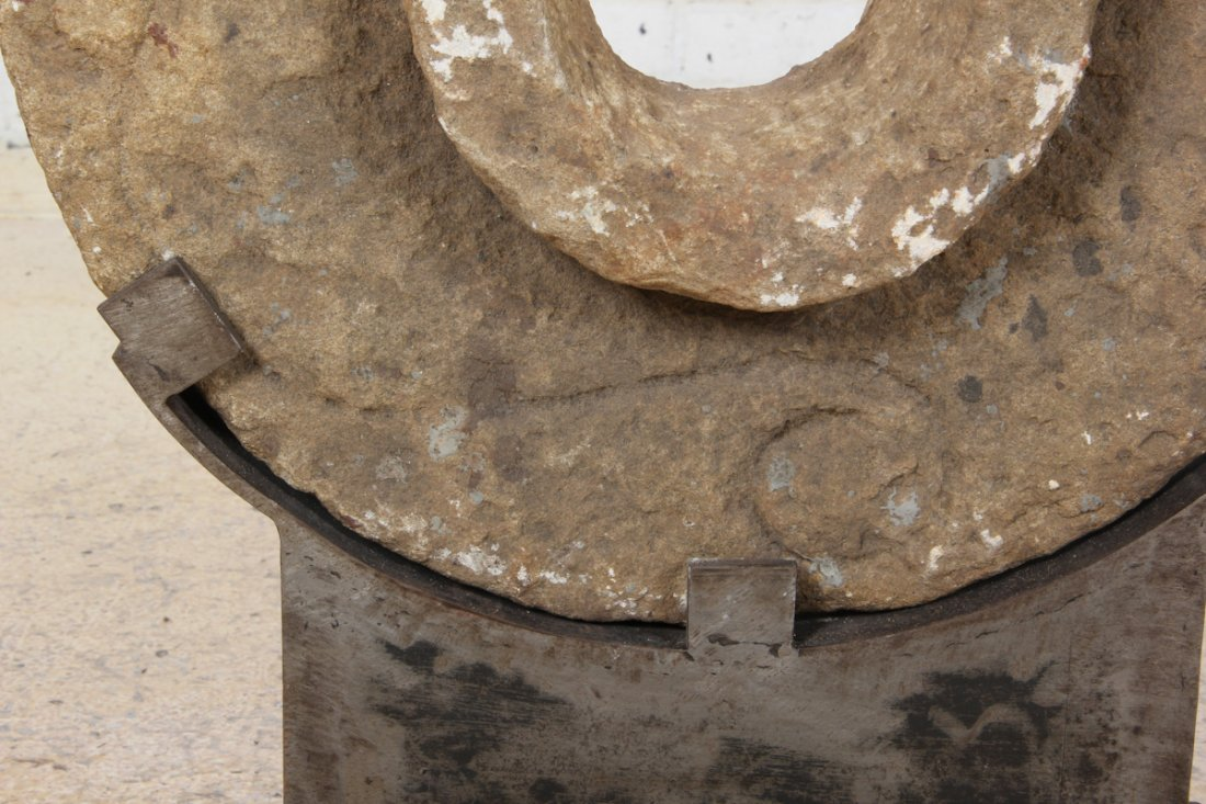 Antique Stone Grinding Wheel with Stand - 9