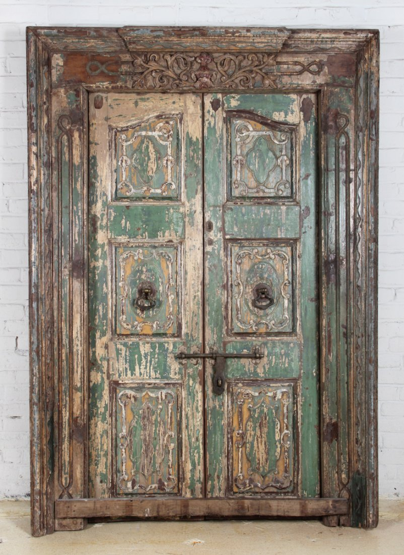 18th Century Green Moghul Door