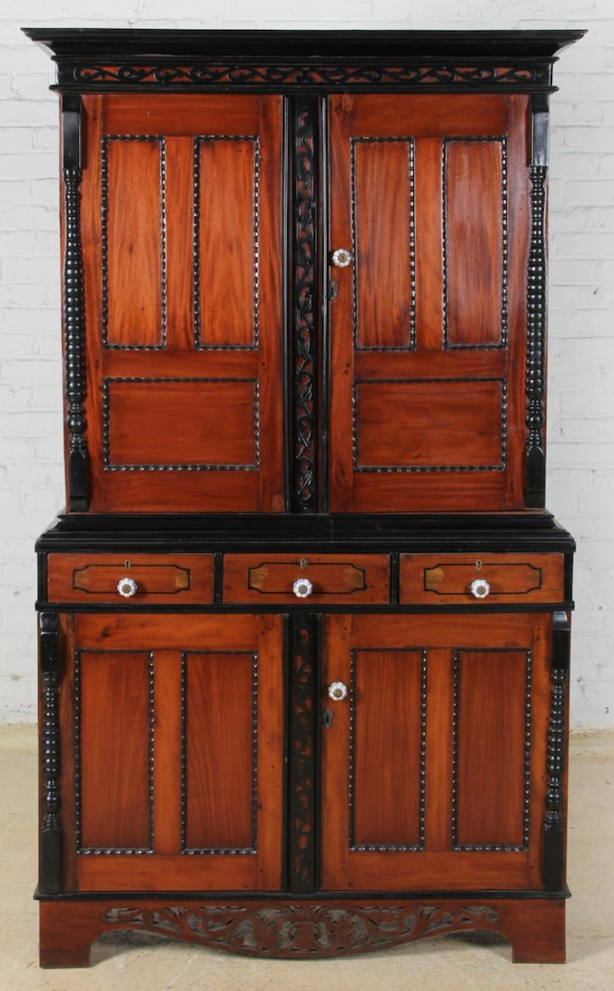 Dutch Colonial Satinwood Ebony Cabinet