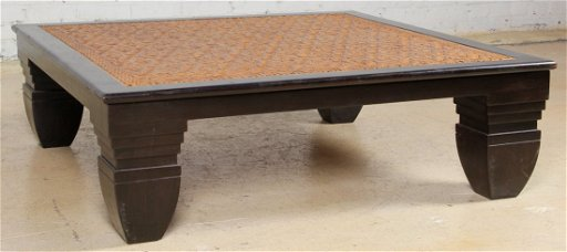 British Colonial Low Square Rosewood Coffee Table