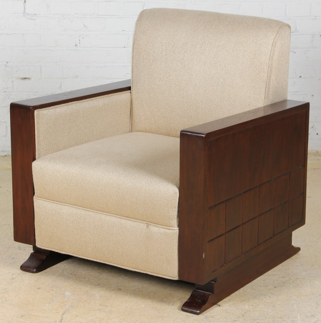 Art Deco Rosewood Armchair with Beige Upholstery