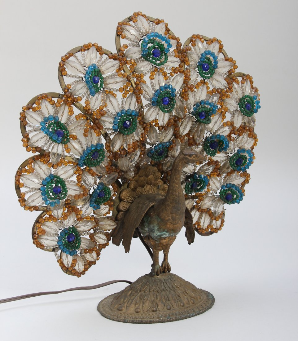 293: Victorian Style Metal Peacock Lamp