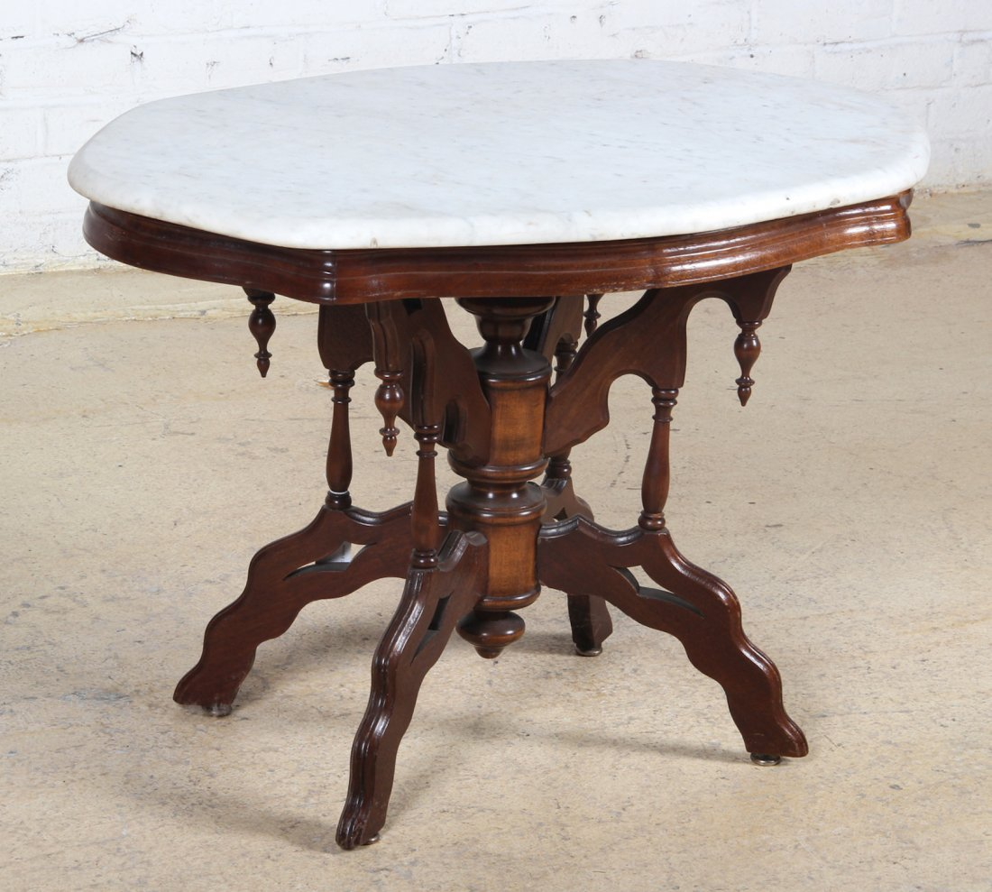 Victorian Marble Coffee Table: Victorian Style Marble Top Side/Coffee Table