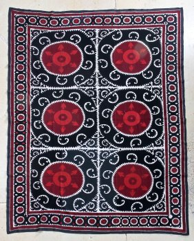 Roomsize Embroidered Suzani Carpet