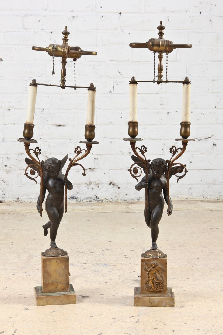 Pair of Marble and Bronze Grand Tour Lamps