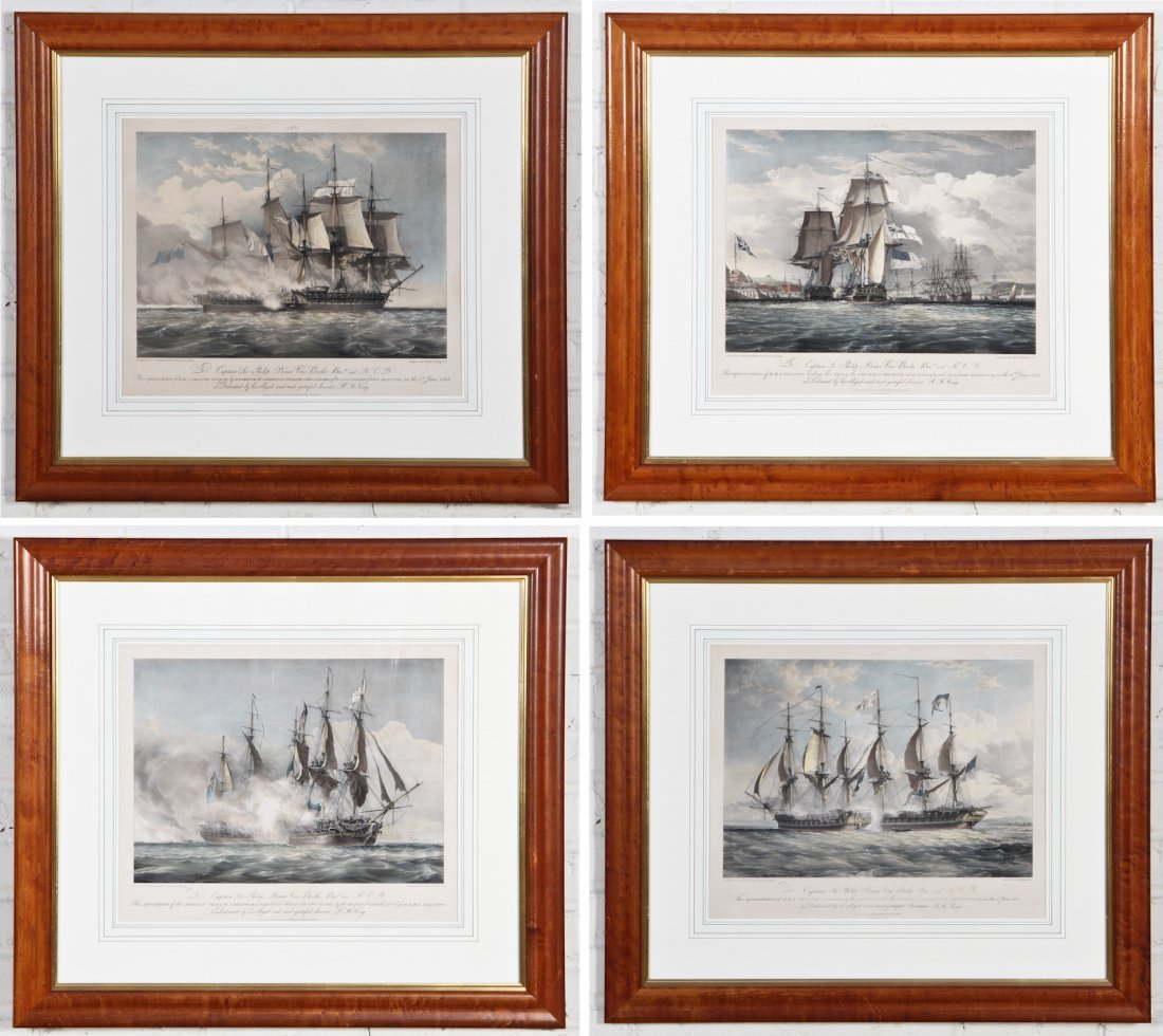 Group of Four Nautical Battle Lithographs