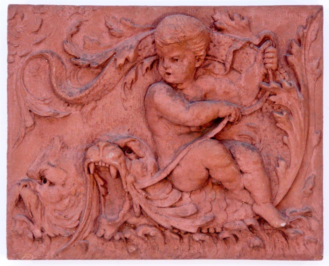 Antique Terracotta Cherub and Mythical Beast