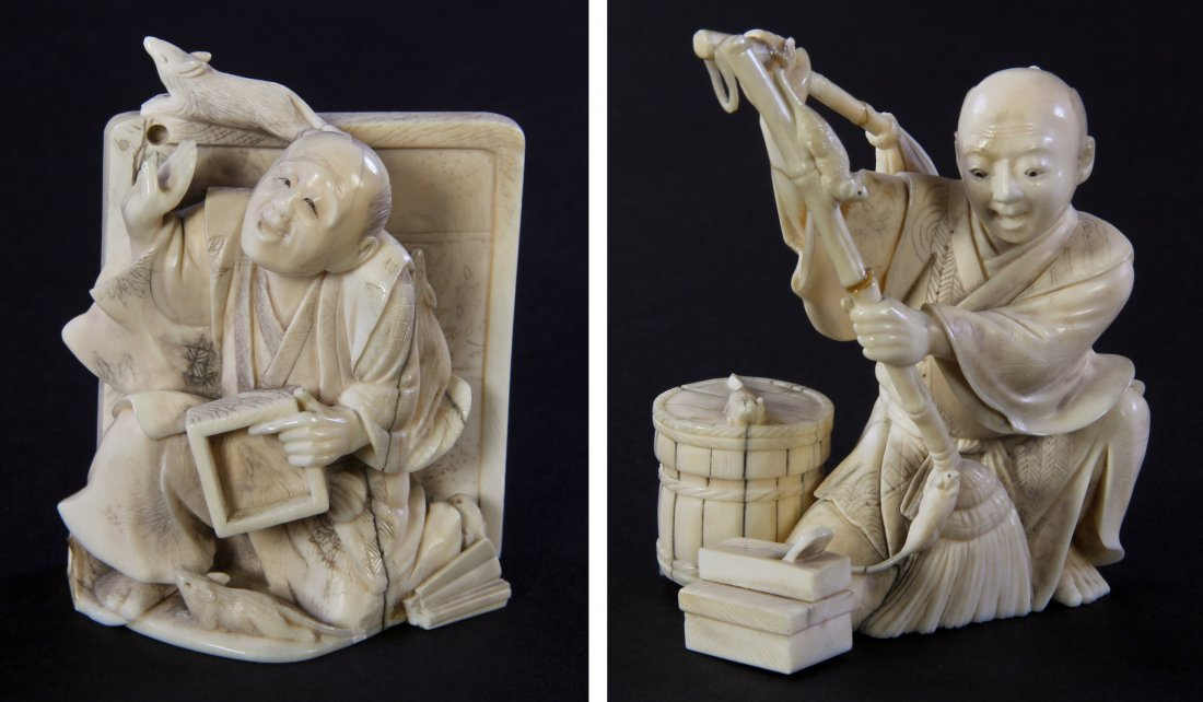 Pair of 19th C. Carved Japanese Ivory Figures