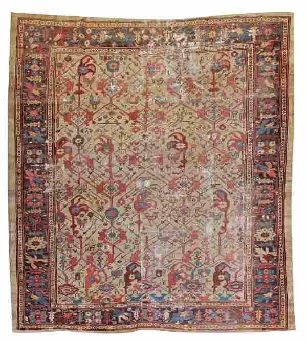 """Camel Field Bakshaish Carpet: 7' 11"""" x 8' 5"""" (241 x 256"""