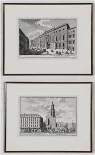 A Pair of Framed Restrike Engravings
