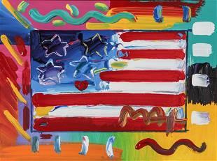 Peter Max Pop Art Flag Mixed Media