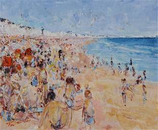 Alain Rousseau, impressionist beach scene, oil