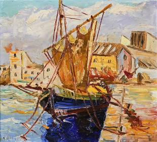 N. Green, Waterfront Boats, Oil