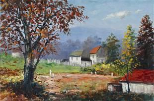 Cesare A. Ricciardi, Autumn Scene, Oil