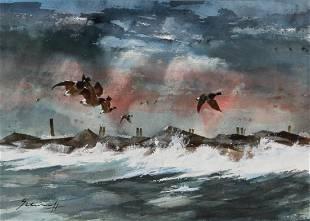 Ralph Scharff, watercolor, birds in flight