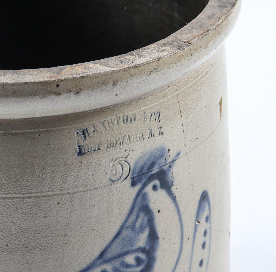 Large American, 19th c, 5 Gallon Stoneware Crock - 3