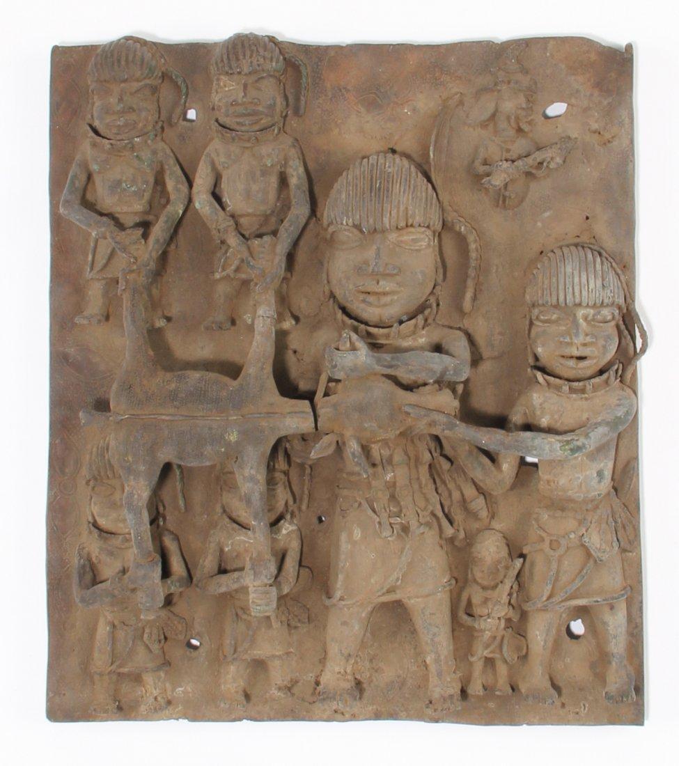 Exquisite African Benin Bronze Plaque
