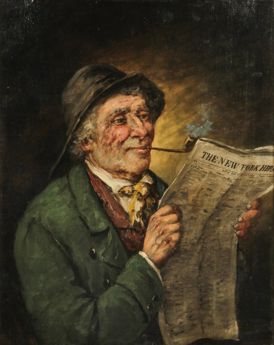 Painting by A. Falke , Man Reading The New York Herald