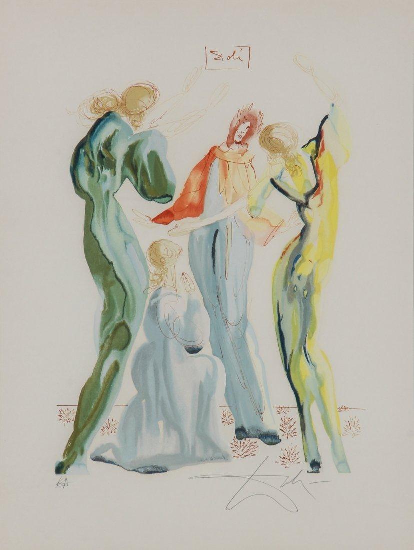 "Salvador Dali Framed Lithograph ""Dantes and Serants"""