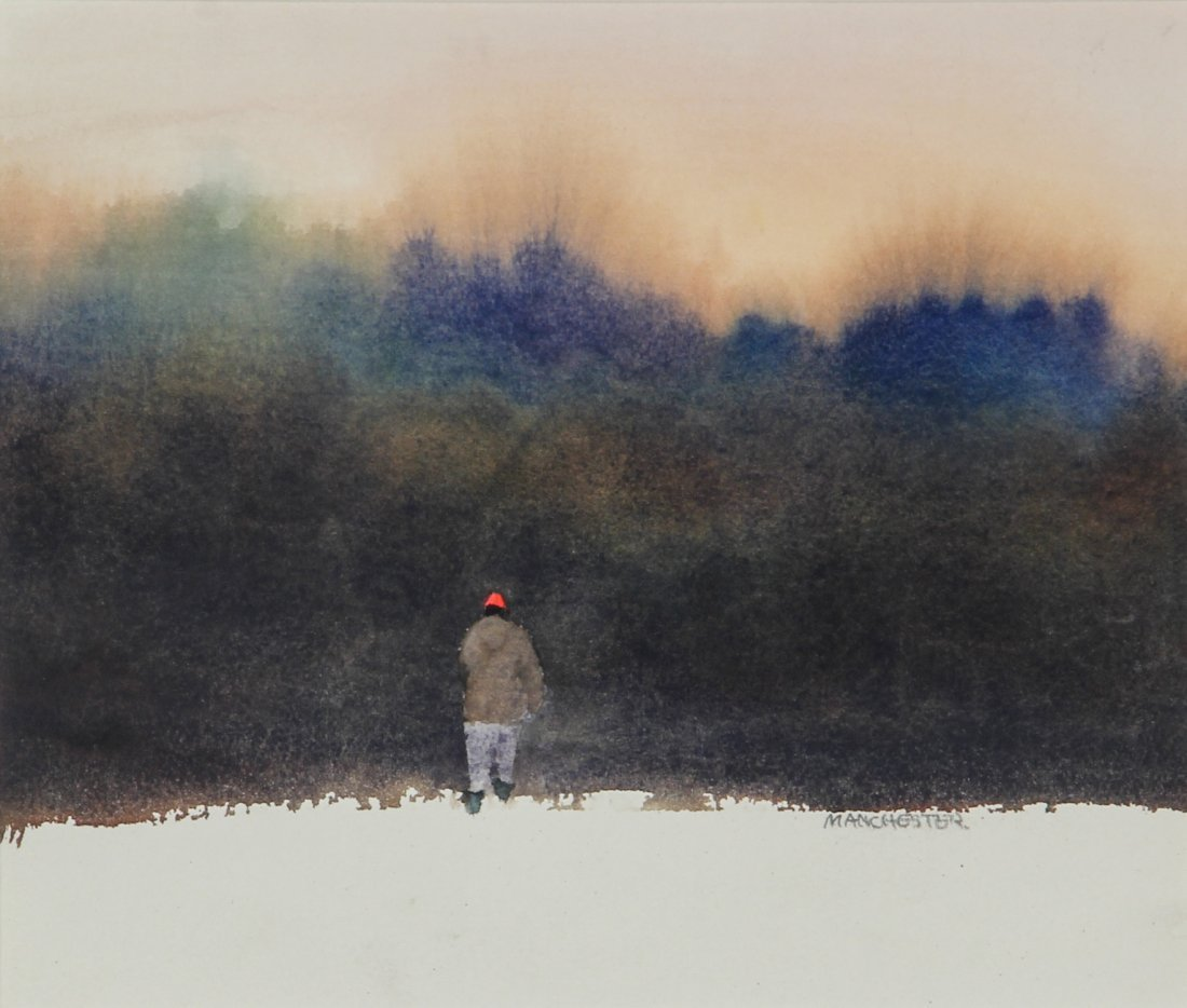 Watercolor, Man Entering Woods, Signed Manchester